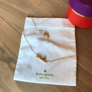 "Gold ""smile"" Kate spade necklace"